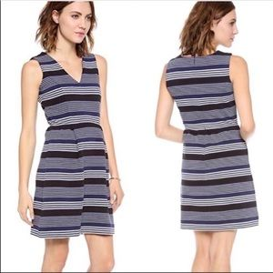 Madewell Gallerist Ponte V-Neck Stripemix Dress